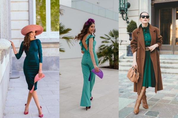 Que llevar con un vestido verde - combinación de colores para un vestido verde
