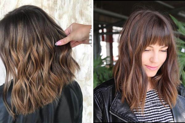 Ideas de corte de pelo para cabello largo y ondulado: cabello lacio medio con flequillo hacia atrás peinado