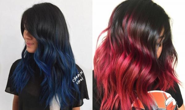 Cortes de pelo para cabello ondulado y cara redonda: teñir las puntas del cabello ondulado