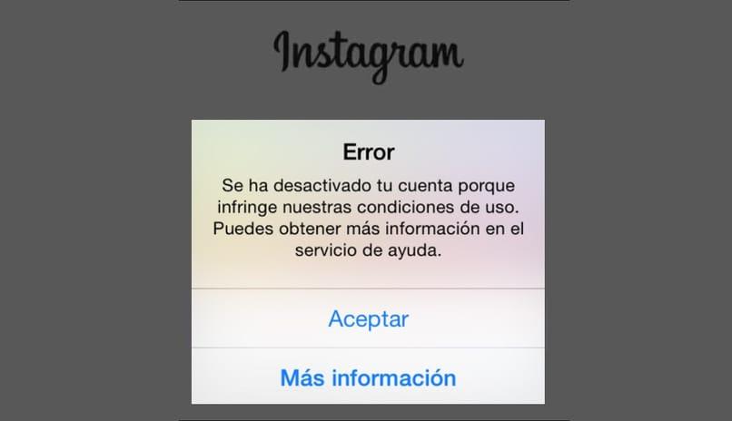Cuenta de Instagram prohibida
