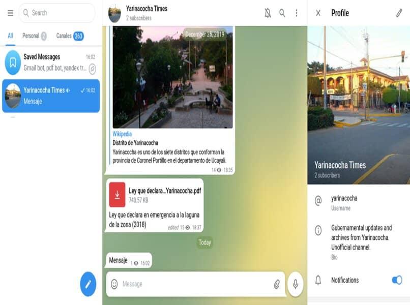 Mensajería multimedia en telegrama