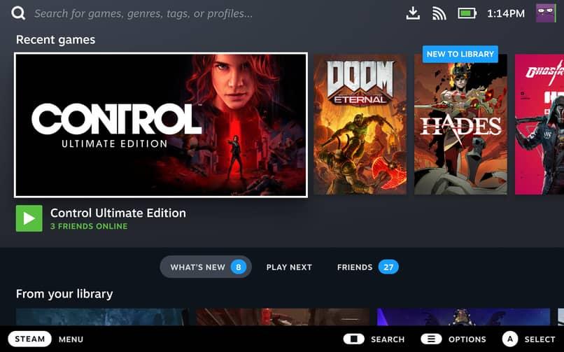 página de inicio de Steam