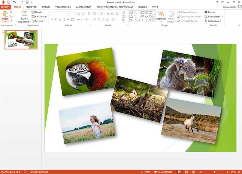 usa powerpoint para crear un collage