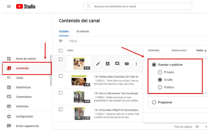 privacidad de los videos de youtube