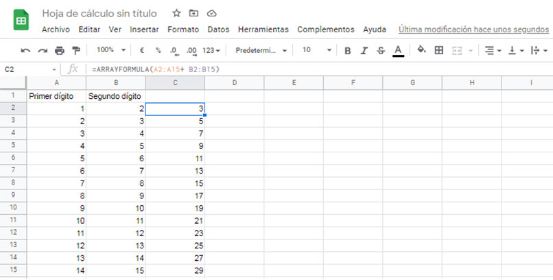 cómo aplicar la fórmula de matriz a toda la columna