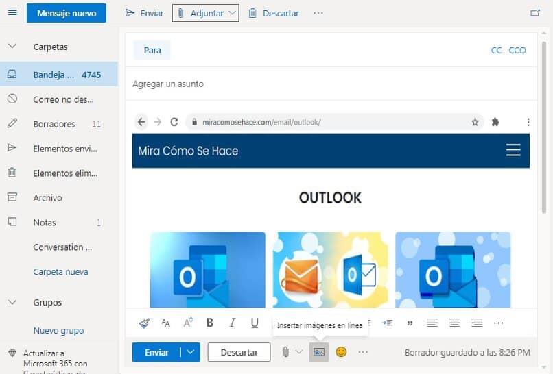 insertar imagen en Outlook