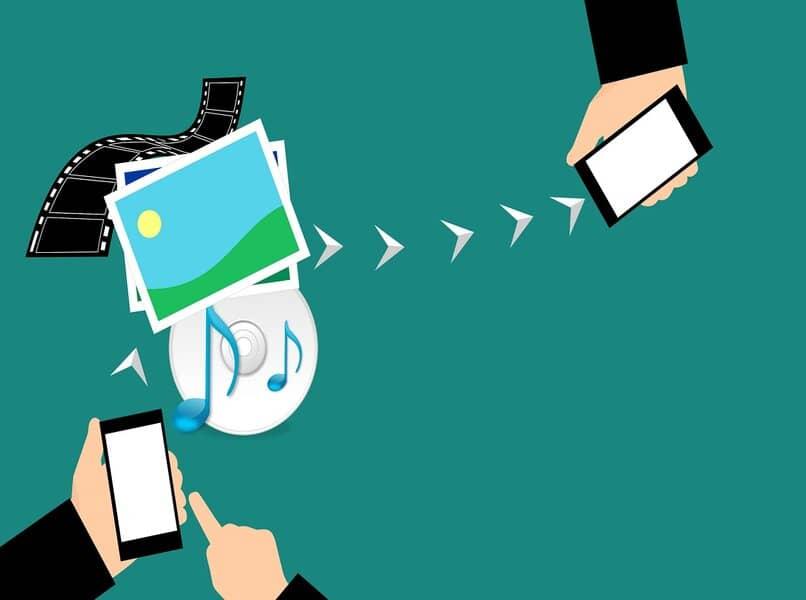 teléfonos móviles que comparten archivos a través de wifi