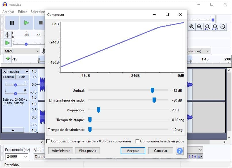 herramienta compresor audacity