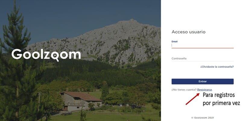 registrarse en el sitio web de goolzoom