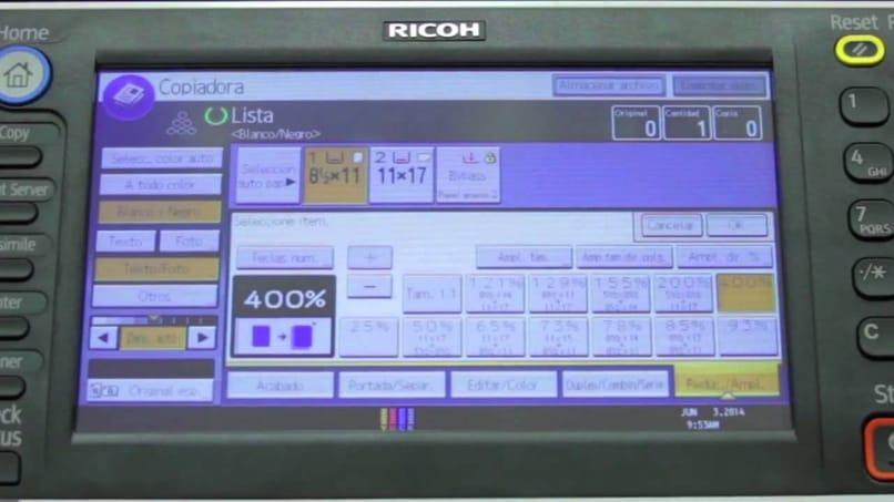 opciones para reducir o ampliar una fotocopiadora
