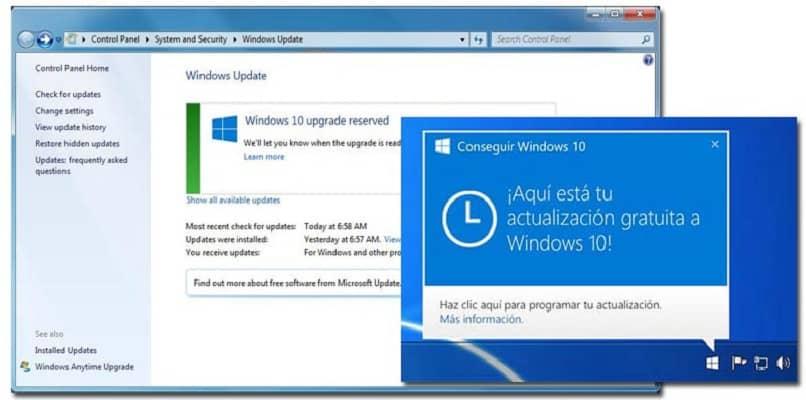 actualización de la versión del sistema windows 10