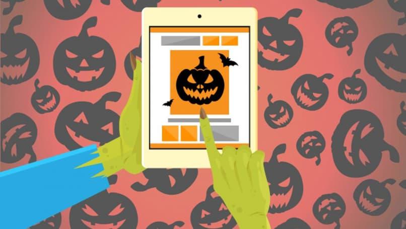 dispositivo con aplicación de halloween
