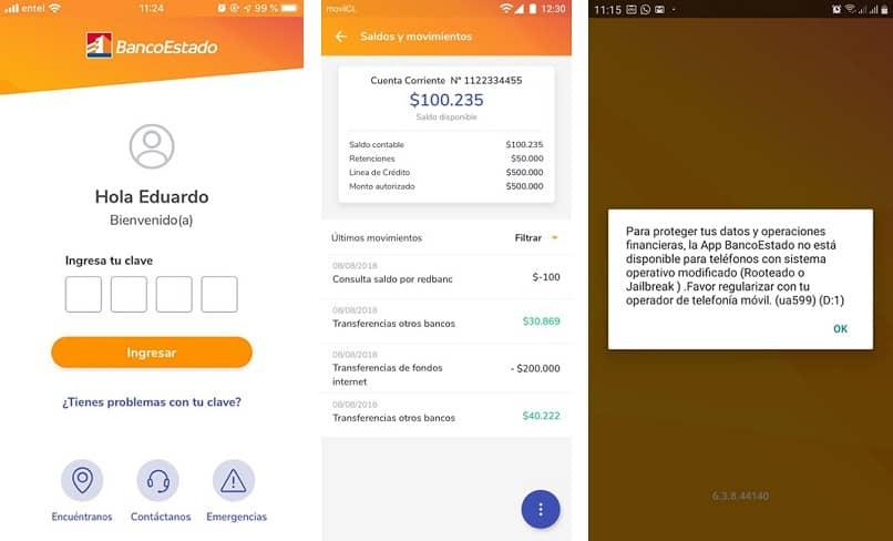 la aplicación bancaria dio el error ua599