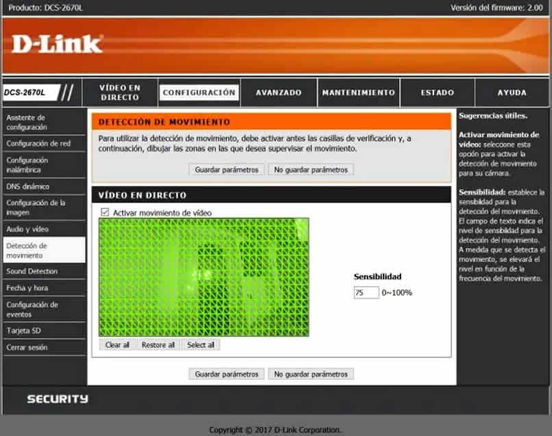 configuración de detección de movimiento en d link dcs 2670l