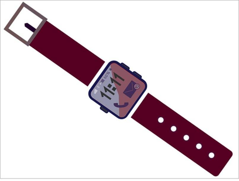 reloj inteligente con hebilla roja