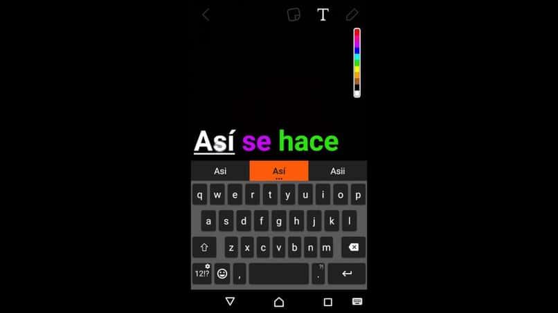 editar texto en color de Snapchat