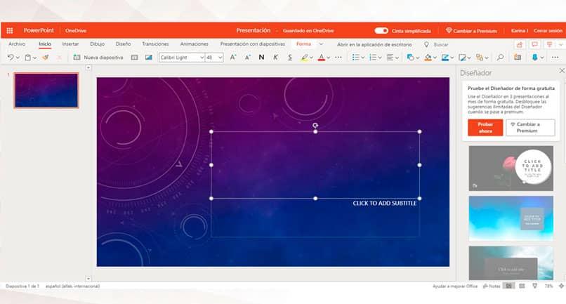 Abra PowerPoint en línea en una cuenta de Microsoft