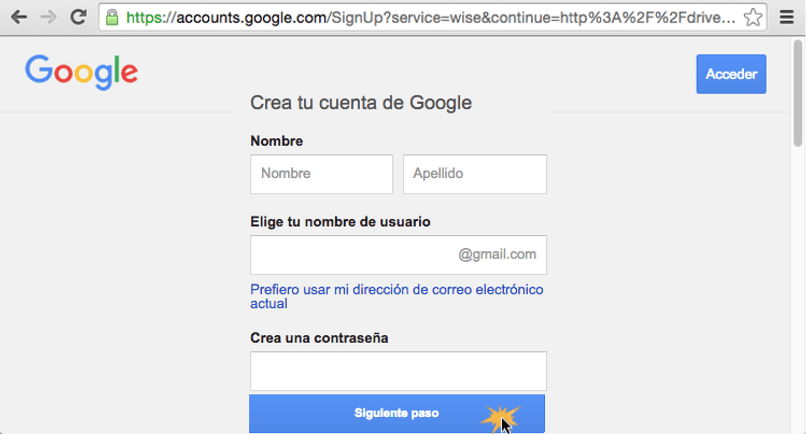 crear una cuenta de Google Play Store