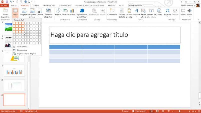 crear una tabla en powerpoint