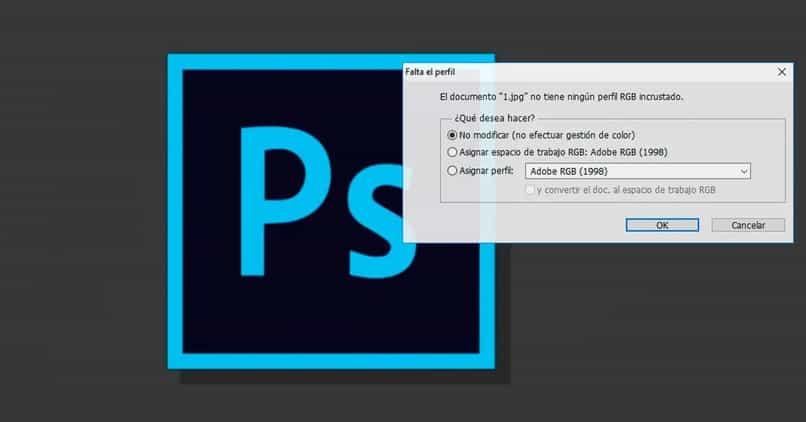 deshabilitar perfil de aviso falta photoshop eliminar ventana
