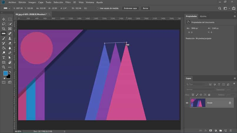medir el tamaño de la regla de triángulos de la herramienta de Photoshop