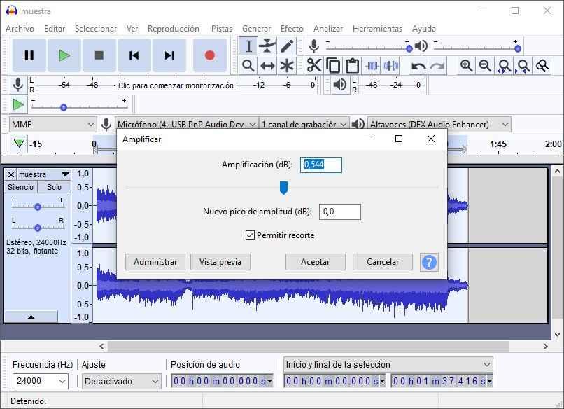 amplificación de la audacia del audio