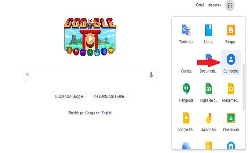 selección de contactos de google