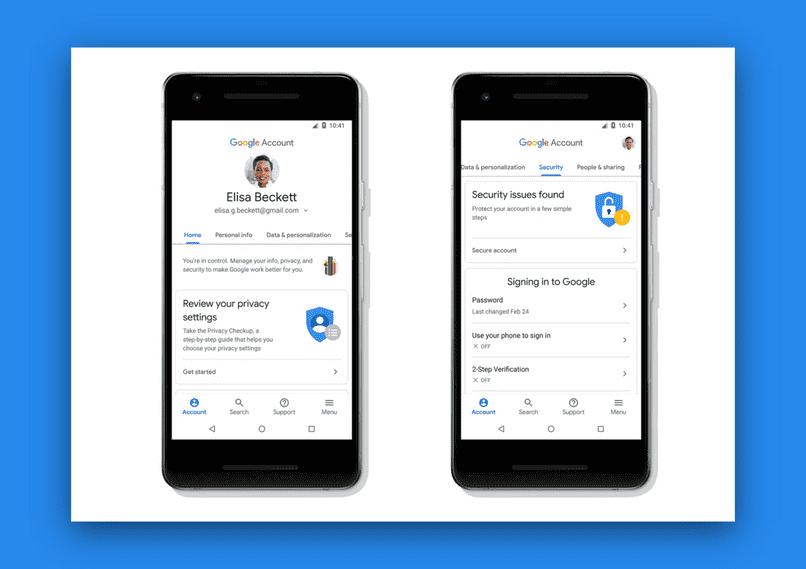 configurar la sincronización de la cuenta de Google