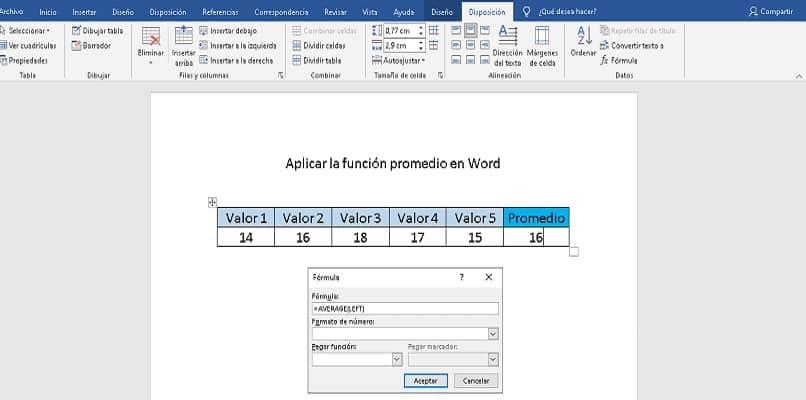 Cómo usar la función de promedio en Word para calcular el promedio de un valor